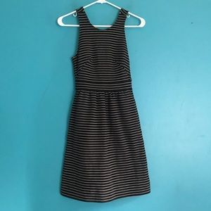 Madewell pierside black white stripe a line dress